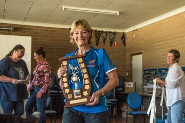 Vicki Kirss with Helen Perry Memorial Trophy for Reining