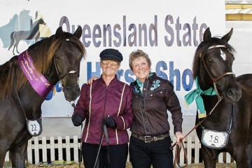 Wilga Park Sassafras Champion and Wilga Park Gypsy Lass Reserve Champion Pure bed Mare Linda Shore and Kathy Lyons