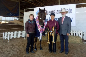 Wilga Park Sassafras Supreme Champion Morgan with Kathy and Greg Lyons and Linda Shore